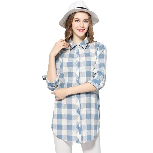 New Women Cotton Shirt Plaid Print Button Turn-down Collar Long Sleeve Loose Casual Top BlueShirts &amp; Blouses<br>New Women Cotton Shirt Plaid Print Button Turn-down Collar Long Sleeve Loose Casual Top Blue<br><br>Blade Length: 20.0cm