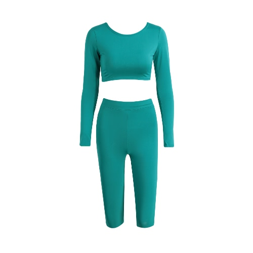 Women Two-Piece Set Crop Top Capri Pants Round Neck Long Sleeves High Waist Stretchy Sportswear Fitness SuitBlazers &amp; Coats<br>Women Two-Piece Set Crop Top Capri Pants Round Neck Long Sleeves High Waist Stretchy Sportswear Fitness Suit<br><br>Blade Length: 20.0cm