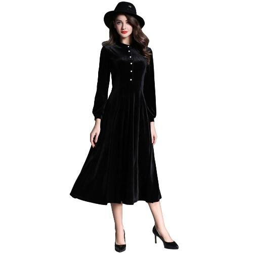 New Fashion Women Velvet Midi Dress Button Front Long Sleeve Solid Color Warm Slim Long Dress Black