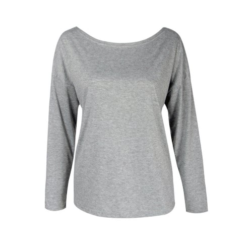 New Fashion Women T-Shirt Solid Color Cross Back Hollow Out Round Neck Long Sleeve Loose Tops