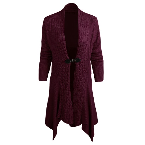 New Women Knitted Cardigan Solid Open Front PU Button Irregular Hem Long Sleeves Casual Outerwear Coat