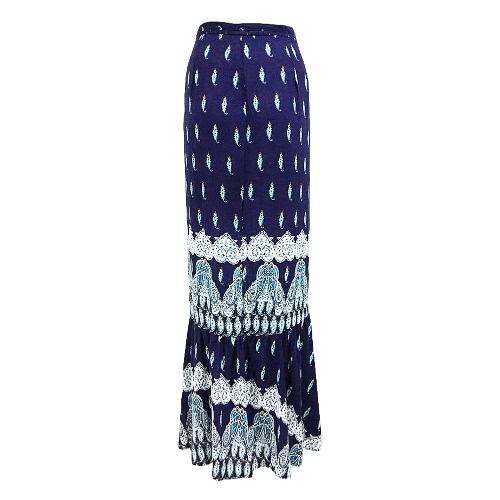 New Fashion Women Bohemian Print Maxi Skirt Tie Waist Wraparound Ruffle Hem Split Long Skirt PurpleBlazers &amp; Coats<br>New Fashion Women Bohemian Print Maxi Skirt Tie Waist Wraparound Ruffle Hem Split Long Skirt Purple<br><br>Blade Length: 22.0cm