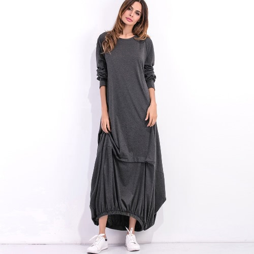 Women Plus Size Casual Maxi Dress Solid O-Neck Full Sleeve Ruffled Elasticated Hem Loose Long Pullover DressDresses<br>Women Plus Size Casual Maxi Dress Solid O-Neck Full Sleeve Ruffled Elasticated Hem Loose Long Pullover Dress<br><br>Blade Length: 25.0cm