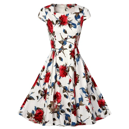 New Women Vintage Dress Floral Print Square Collar Short Sleeves Elegant Party Slim Ball Gown Pink/RedDresses<br>New Women Vintage Dress Floral Print Square Collar Short Sleeves Elegant Party Slim Ball Gown Pink/Red<br><br>Blade Length: 32.0cm