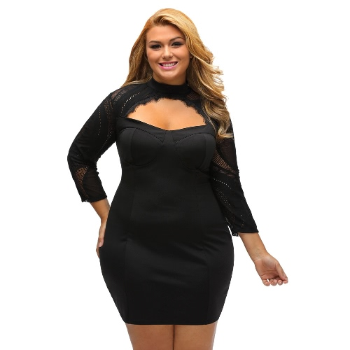 New Sexy Women Plus Size Lace Dress Cutout Hollow 3/4 Sleeves Bodycon Party Dress Black