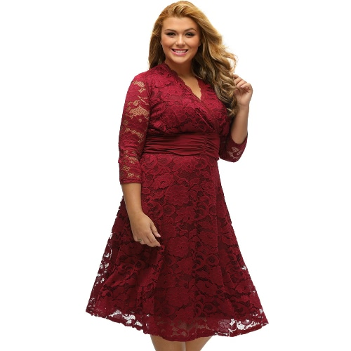Sexy Women Plus Size A-Line Midi Dress Floral Lace Cross V-Neck Ruffled Evening Party Swing Dress Black/BurgundyDresses<br>Sexy Women Plus Size A-Line Midi Dress Floral Lace Cross V-Neck Ruffled Evening Party Swing Dress Black/Burgundy<br><br>Blade Length: 30.0cm