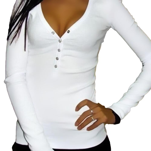 New Fashion Women T-shirt Deep V Neck Buttons Long Sleeve Solid Color Slim Sexy Casual Tops TeesShirts &amp; Blouses<br>New Fashion Women T-shirt Deep V Neck Buttons Long Sleeve Solid Color Slim Sexy Casual Tops Tees<br><br>Blade Length: 28.0cm
