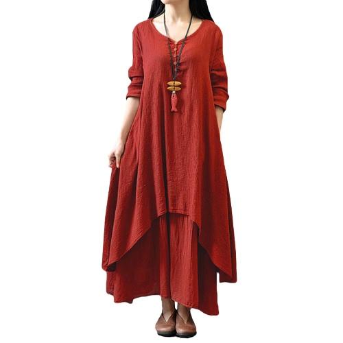 New Fashion Women Casual Loose Dress Solid Long Sleeve Cotton Linen Boho Long Maxi DressDresses<br>New Fashion Women Casual Loose Dress Solid Long Sleeve Cotton Linen Boho Long Maxi Dress<br><br>Blade Length: 25.0cm