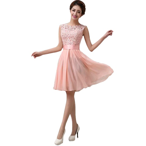 New Fashion Women Chiffon Lace Dress Sleeveless O Neck Solid Color Elegant Princess Party DressDresses<br>New Fashion Women Chiffon Lace Dress Sleeveless O Neck Solid Color Elegant Princess Party Dress<br><br>Blade Length: 23.0cm