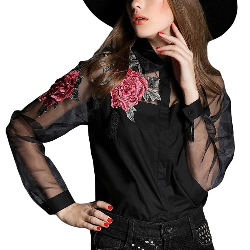 New Vintage Women Applique Blouse Floral Button Down Organza Splicing Long Sleeves Shirt Black/White