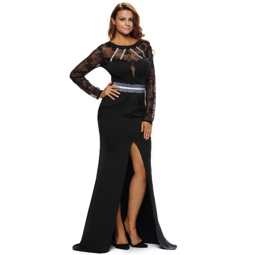 Sexy Women Maxi Long Dress Sheer Lace Cut Out Split Long Sleeve Elegant Slim Evening Party Dress Black