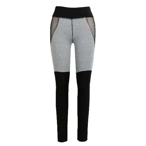 New Women Sport Yoga Leggings Contrast Color Fishnet Splice Stretch Fitness Gym Running Bodycon Pants Grey