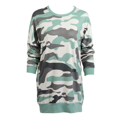 Women Camouflage Dress Camo Print Dropped Shoulder O Neck Long Sleeves Loose Straight Mini Dress Green