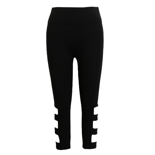 Women Leggings Cropped Cutout Pants High Waist Elastic Sports Workout Fitness Tights Trousers Black