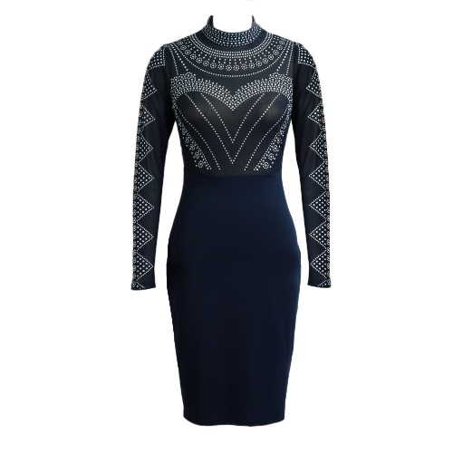 New Sexy Women Dress  Semi-sheer Stand Collar Long Sleeve Dot Pattern Zipper Bodycon Party Mini DressDresses<br>New Sexy Women Dress  Semi-sheer Stand Collar Long Sleeve Dot Pattern Zipper Bodycon Party Mini Dress<br><br>Blade Length: 22.0cm