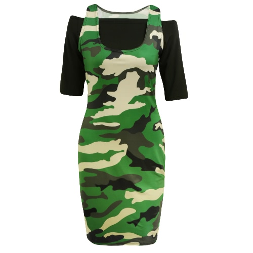 New Women Crop Top Mini Dress Bodycon Camouflage Off Shoulder Half Sleeves Casual Two-Piece Army GreenDresses<br>New Women Crop Top Mini Dress Bodycon Camouflage Off Shoulder Half Sleeves Casual Two-Piece Army Green<br><br>Blade Length: 32.0cm