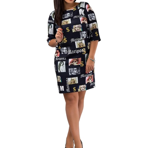 Fashion Women Printing Mini Dress Letters Print O Neck Half Sleeves Back zipper Straight H-Line DressDresses<br>Fashion Women Printing Mini Dress Letters Print O Neck Half Sleeves Back zipper Straight H-Line Dress<br><br>Blade Length: 32.0cm