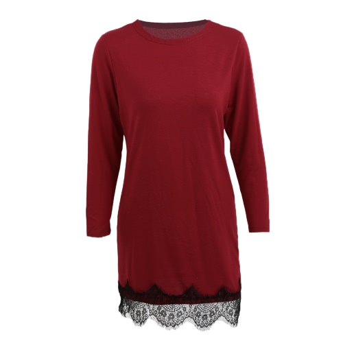 Fashion Women Dress Lace Splice Round Neck Long Sleeve Solid Color Plus Size Casual Party Dress