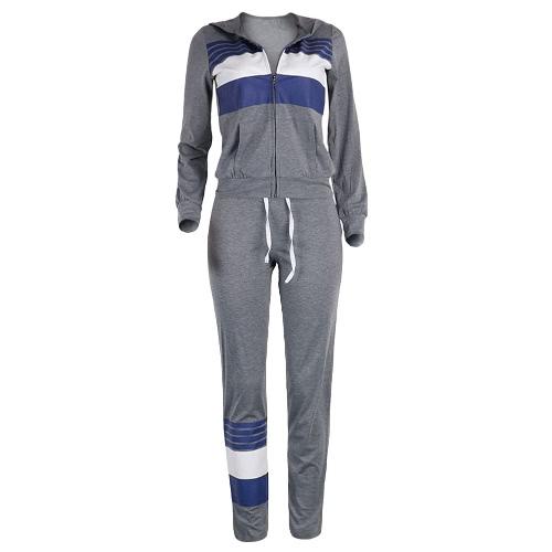 New Women Tracksuit Set Sportswear Stripe Drawstring Sweatshirt Long Pants Casual Two Pieces Set Grey