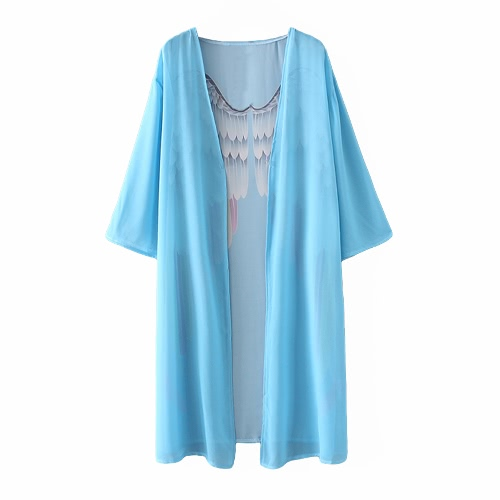 Women Kimono Angel Wing Print Open Front Three Quarter Sleeve Loose Long Casual Beach Cover Up Blouse Light BlueBlazers &amp; Coats<br>Women Kimono Angel Wing Print Open Front Three Quarter Sleeve Loose Long Casual Beach Cover Up Blouse Light Blue<br><br>Blade Length: 28.0cm
