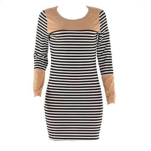 Fashion Women Striped Mini Dress Splicing Round Neckline Long Sleeves Casual Summer Dress BlackDresses<br>Fashion Women Striped Mini Dress Splicing Round Neckline Long Sleeves Casual Summer Dress Black<br><br>Blade Length: 23.0cm