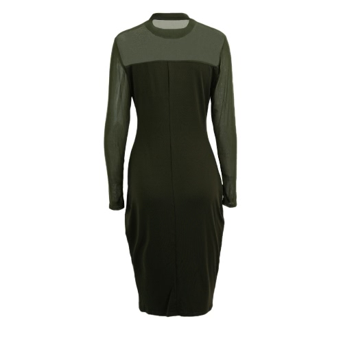 Sexy Women Dress Semi-sheer Splice Solid Color Stand Collar Long Sleeve Club Bodycon DressDresses<br>Sexy Women Dress Semi-sheer Splice Solid Color Stand Collar Long Sleeve Club Bodycon Dress<br><br>Blade Length: 22.0cm