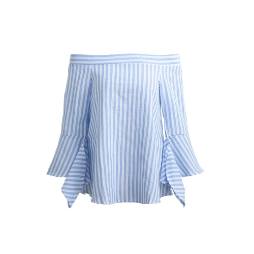 Women Stripe Off the Shoulder Top Slash Neck Flare Sleeves Long Casual Shirt Blouse Top BlueShirts &amp; Blouses<br>Women Stripe Off the Shoulder Top Slash Neck Flare Sleeves Long Casual Shirt Blouse Top Blue<br><br>Blade Length: 26.0cm