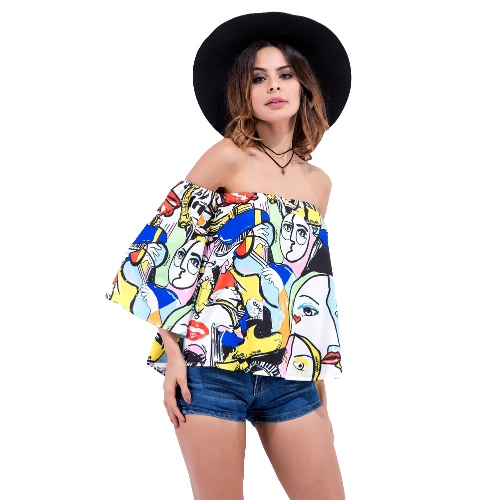 New Fashion Women Blouse Graffiti Print Off Shoulder Flare Sleeve Loose Casual Tops Tee T-Shirt BlueShirts &amp; Blouses<br>New Fashion Women Blouse Graffiti Print Off Shoulder Flare Sleeve Loose Casual Tops Tee T-Shirt Blue<br><br>Blade Length: 28.0cm