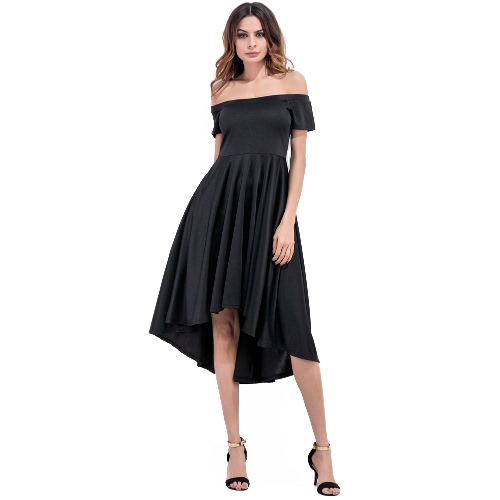 Women Dress Solid Color Off Shoulder Slash Neck High Waist Asymmetric Elegant Evening Party Club One-Piece Burgundy/BlackDresses<br>Women Dress Solid Color Off Shoulder Slash Neck High Waist Asymmetric Elegant Evening Party Club One-Piece Burgundy/Black<br><br>Blade Length: 35.0cm