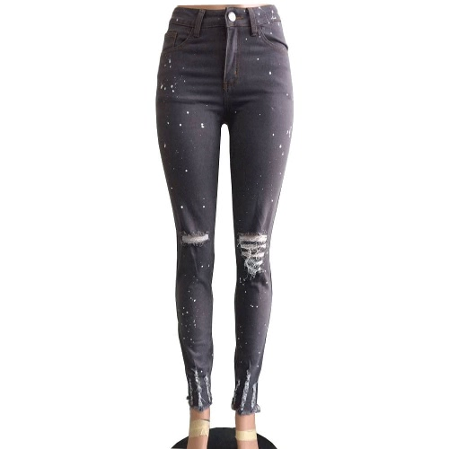 Women Jeans Stretch Washed Denim Ripped Hole Knee Dots Mid Waist Distressed Sexy Skinny Pencil Pants Dark GreyPants &amp; Shorts<br>Women Jeans Stretch Washed Denim Ripped Hole Knee Dots Mid Waist Distressed Sexy Skinny Pencil Pants Dark Grey<br><br>Blade Length: 35.0cm