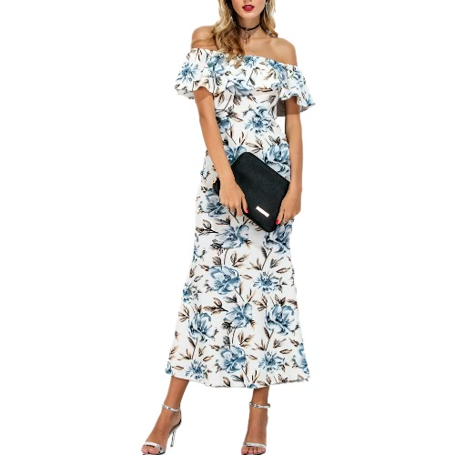 New Fashion Women Floral Print Mermaid Dress Slash Neck Ruffle Split Hem Long Dress WhiteDresses<br>New Fashion Women Floral Print Mermaid Dress Slash Neck Ruffle Split Hem Long Dress White<br><br>Blade Length: 22.0cm