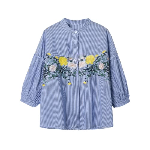 Women Floral Embroidery Blouse Cotton Three Quarter Sleeve Female Casual Shirt Top BlueShirts &amp; Blouses<br>Women Floral Embroidery Blouse Cotton Three Quarter Sleeve Female Casual Shirt Top Blue<br><br>Blade Length: 22.0cm