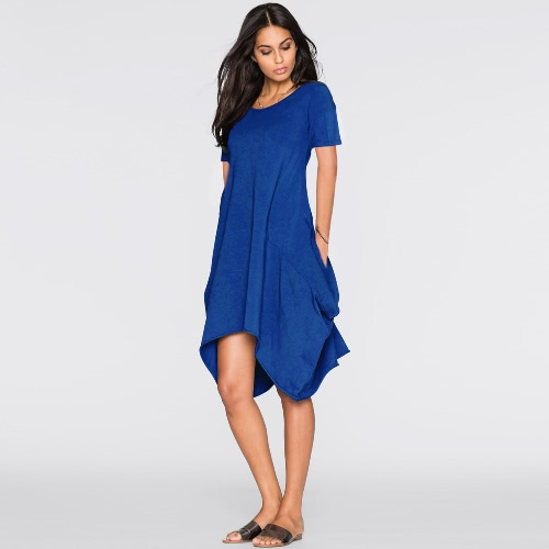 New Fashion Women Short Sleeve Dress Pockets Solid Color Round Neck Irregular Hem Casual DressDresses<br>New Fashion Women Short Sleeve Dress Pockets Solid Color Round Neck Irregular Hem Casual Dress<br><br>Blade Length: 25.0cm