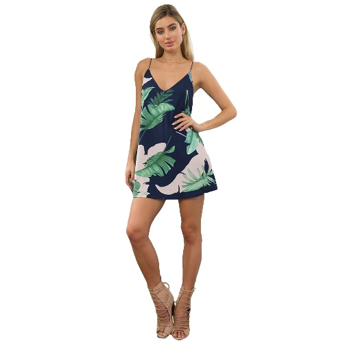 Women Cami Dress Contrast Leaves Print V Neck Sleeveless Mini Casual Beach Holiday Party Club WearDresses<br>Women Cami Dress Contrast Leaves Print V Neck Sleeveless Mini Casual Beach Holiday Party Club Wear<br><br>Blade Length: 28.0cm