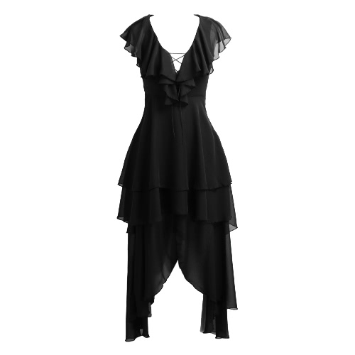 Women Asymmetrical Chiffon Dress Plunge V Neck Ruffles Hollow Out Lace Up Draped Swing Layered Dress BlackDresses<br>Women Asymmetrical Chiffon Dress Plunge V Neck Ruffles Hollow Out Lace Up Draped Swing Layered Dress Black<br><br>Blade Length: 30.0cm