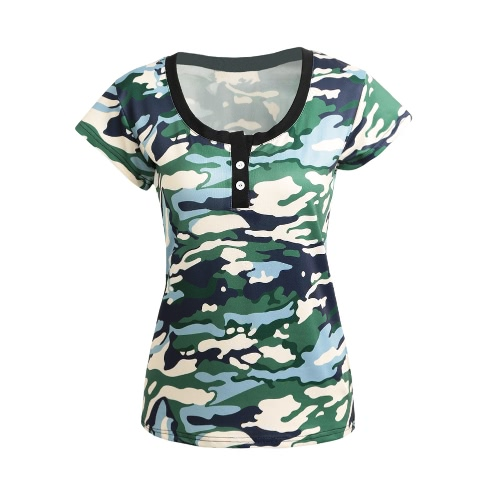 New Summer Women T-Shirt Camouflage Print Button O-Neck Short Sleeve Casual SlimTee Top GreenShirts &amp; Blouses<br>New Summer Women T-Shirt Camouflage Print Button O-Neck Short Sleeve Casual SlimTee Top Green<br><br>Blade Length: 20.0cm