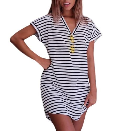 New Sexy Women Mini Dress Striped V-Neck Short Sleeves Casual Dress White/GreyDresses<br>New Sexy Women Mini Dress Striped V-Neck Short Sleeves Casual Dress White/Grey<br><br>Blade Length: 25.0cm