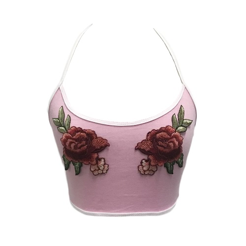 New Sexy Women Vest Crop Top Floral Embroidery Halter Scoop Neck Sleeveless Casual Short BlouseTops &amp; Vests<br>New Sexy Women Vest Crop Top Floral Embroidery Halter Scoop Neck Sleeveless Casual Short Blouse<br><br>Blade Length: 25.0cm