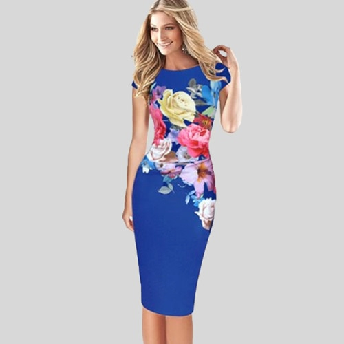 Elegant Women Midi Dress Floral Print Bodycon Short Sleeve Ruched Formal Work Party Pencil Dress Black/ Blue/GreenDresses<br>Elegant Women Midi Dress Floral Print Bodycon Short Sleeve Ruched Formal Work Party Pencil Dress Black/ Blue/Green<br><br>Blade Length: 29.0cm