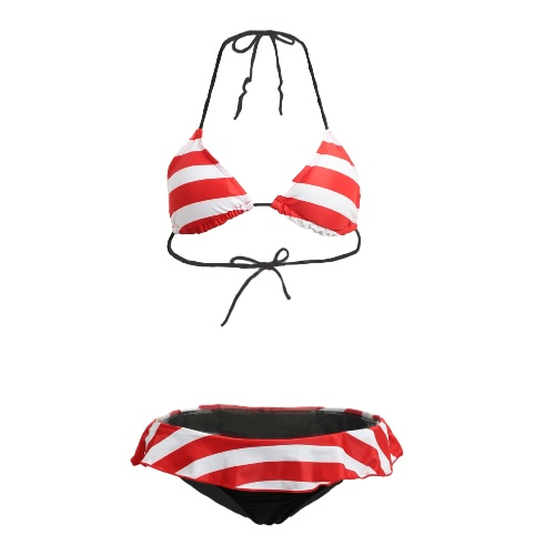 Sexy American Striped Halter Padded Cup Ruffled Thong Women's Bikini Set GS069R-S