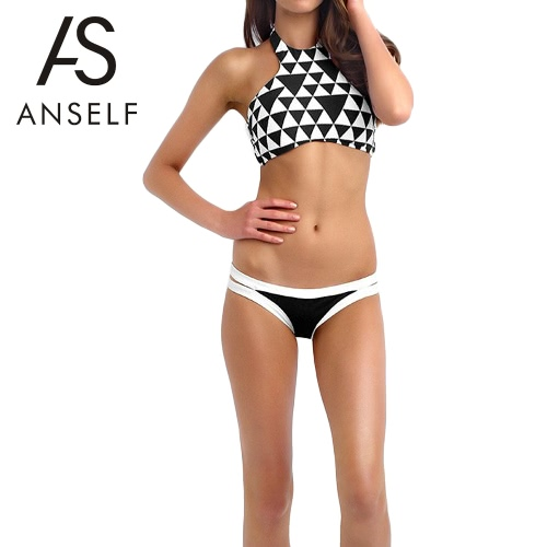 Anself Sexy Geometric Pattern Halter Crop Top Cutout Bottom Swimwear Women's Bikini GS071B-L
