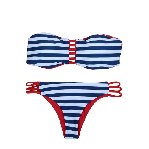 Sexy Contrast Stripe Women's Strapless Bikini Set GS084DB-L