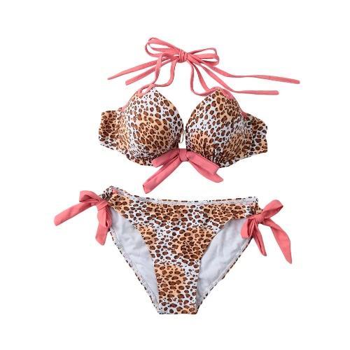 Sexy Women Bikini Set Halter Leopard Print Padded Top Self-tie Swimwear Swimsuit Beachwear