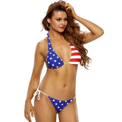 New Sexy Women Bikini Two-Piece Set Stars Stripes Halter Tie Wireless Push Up Top Self-Tie Thong Bottom Swimsuit Blue