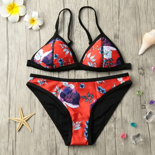 Sexy Women Bikini Set Floral Print Padded Top Scrunch Bottom Beach Swimwear Swimsuit Bathing Suit Red