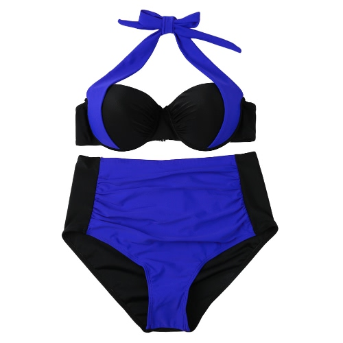 Sexy Women Bikini Set Contrast Color Block Underwire Halter Top High Waist Bottom Beach Swimwear Swimsuit Bathing SuitSwimwear<br>Sexy Women Bikini Set Contrast Color Block Underwire Halter Top High Waist Bottom Beach Swimwear Swimsuit Bathing Suit<br><br>Blade Length: 27.0cm