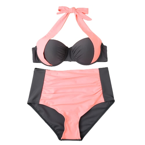 Sexy Women Bikini Set Contrast Color Block Underwire Halter Top High Waist Bottom Beach Swimwear Swimsuit Bathing SuitSwimwear<br>Sexy Women Bikini Set Contrast Color Block Underwire Halter Top High Waist Bottom Beach Swimwear Swimsuit Bathing Suit<br><br>Blade Length: 27.0cm
