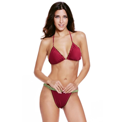 Sexy Women Bikini Set G-String Halter Straps Braided Low Waist Open Back Thong Two Piece Swimsuit Swimwear BurgundySwimwear<br>Sexy Women Bikini Set G-String Halter Straps Braided Low Waist Open Back Thong Two Piece Swimsuit Swimwear Burgundy<br><br>Blade Length: 15.0cm