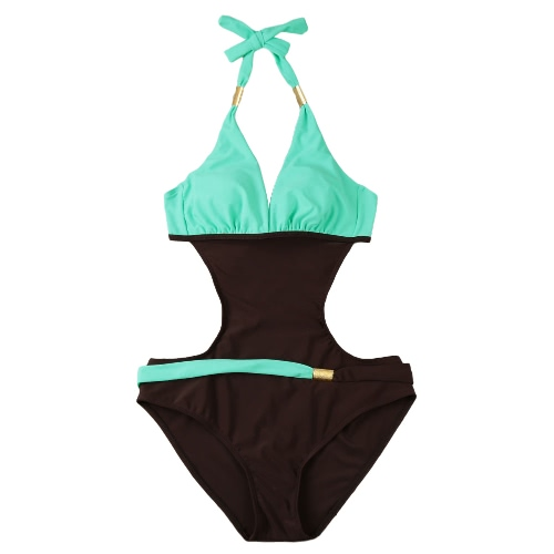 New Sexy Women One-piece Swimsuit Contrast Color Block Halter Backless Beach Swimwear Bathing Suit