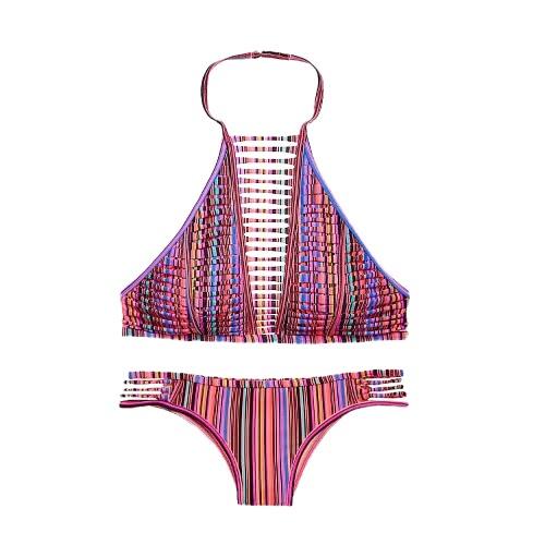 Sexy Women Bikini Set Cut Out Backless Bathing Suit Swimwear Swimsuits Two Piece Black/White/Red